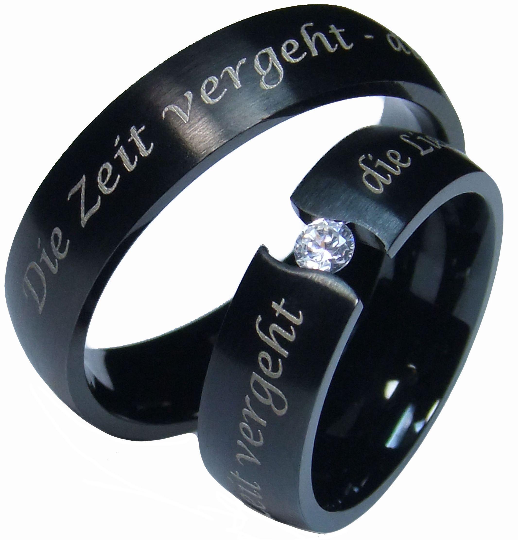 Partnerringe schwarz edelstahl  2 schwarze Eheringe Hochzeitsringe Partnerringe Verlobungsringe 6 ...