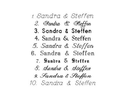 Für die gravur bieten wir 10 schriftarten an wählen sie bitte aus